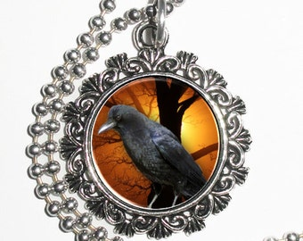Raven Crow Art Pendant, Black Bird Resin Art Pendant Photo Charm Necklace