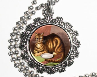 Brown Tabby Cat Art Pendant, Cat Resin Pendant, Kitty Vintage Art, Photo Charm Necklace