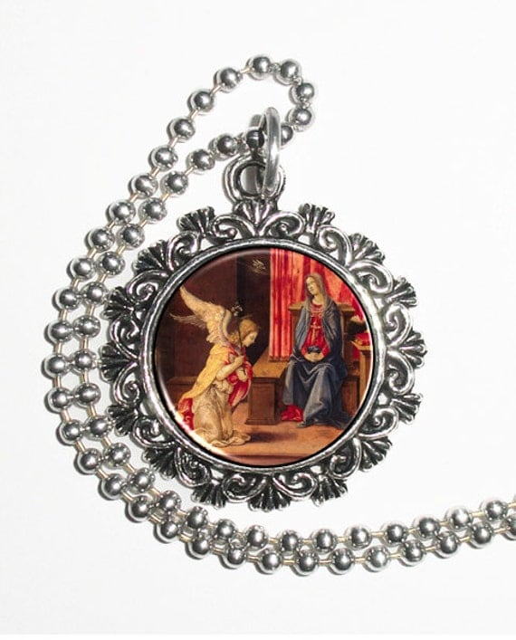 Annunciation Art Pendant, Virgin Mary with an Angel Resin Pendant, Filippino Lippi Art, Photo Charm Necklace