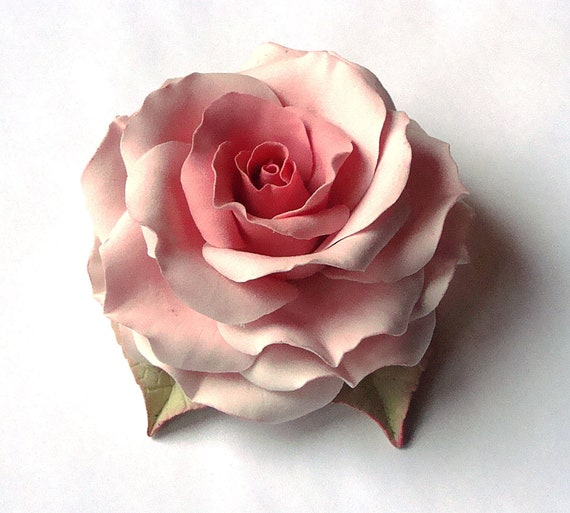 "Polymer clay jewelry. Large brooch with a soft pink rose ""Candy "" . Clay flower brooch."