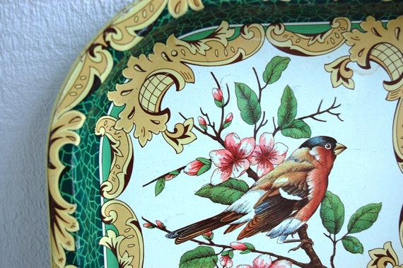 REDUCED - Large vintage daher bird tray - metal - songbird -
