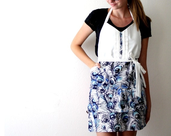Blue Peacock Apron - navy blue sky blue white feather pattern retro adjustable cotton hostess apron with ruffles, pockets, tiers