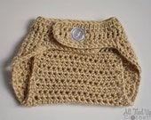 Tan/Beige/Bone Adjustable Crochet Diaper Cover, Newborn photo prop, gift - Ready to ship