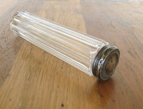 Toothbrush Holder-Antique Glass and Sterling