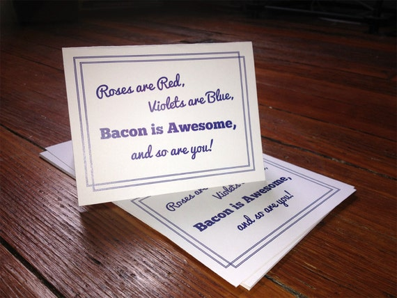 Bacon is Awesome - Navy Blue - Individual Thank You Card