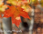 Fall leaf- with Emily Bronte quote-5x7-golden maple leaf - simplyseekingphotos