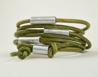 Personalized engraved leather bracelet, wrapped bracelet,bracelet with names,real leather,wrap bracelet,green, MY FAMILY
