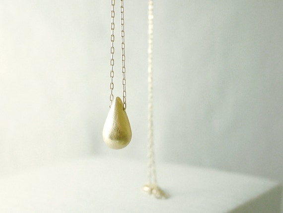 Gold teardrop necklace - long gold filled - simple minimal illusy