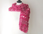 Crocheted scarf, Rose  Pink Crocheted scarf   Winter accessories, ladies scarf, fall accessories, Winter scarf, crocheted wrap