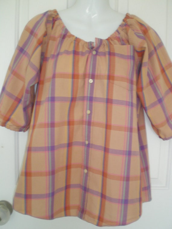 Peasant Blouse upcycled from a men's shirt 50 inch L pastel plaid