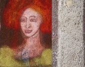TEXTURED ACEO PAINTING, Woman portrait, Original art card, orange yellow art, Red hair girl,  Miniature Art by Teofana