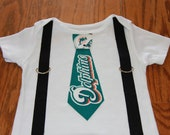 Miami Dolphins Tie and  Suspenders Onesie or Toddler Shirt  NFL