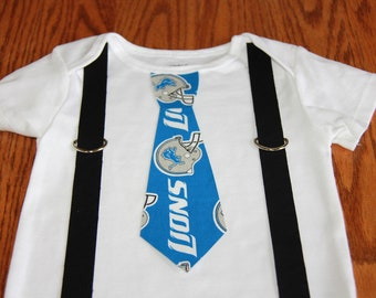 Detroit Lions Tie and  Suspenders Onesie or Toddler Shirt  NFL