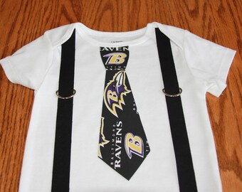 Baltimore Ravens Tie and  Suspenders Onesie or Toddler Shirt  NFL