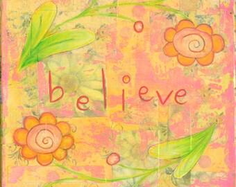 Believe 6x6 Original Collage Painting