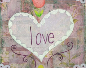 Love 6x6 Original Collage Painting