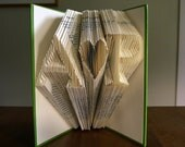 Paper Anniversary Gift - Folded Book Art - Monogram - Two initials with heart in between - I Love You - Wedding Present - Wedding Decoration