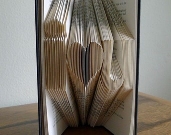 Boyfriend Anniversary Gift / Girlfriend Gift - Paper Anniversary - Altered Book - i love u - Folded Book Art
