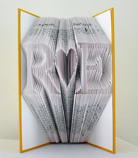 Folded Book Art - Monogrammed - Two Initials With Heart In Between - Wedding Present -  Paper Anniversary