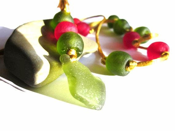 Spanish Olives - Olive Green Sea Glass with Pimento Red/Olive Recycled Glass Krobo Beads on Gold Satin Cord Necklace Eco Friendly
