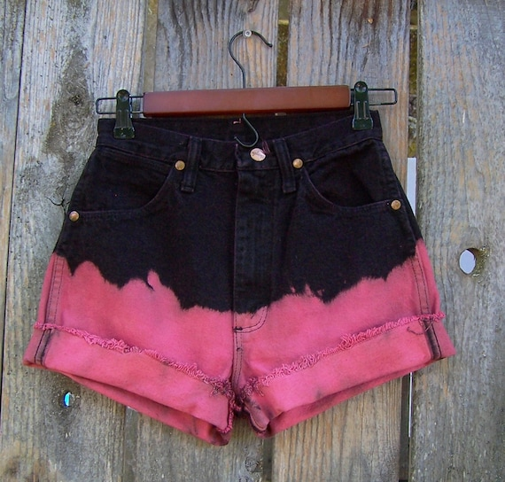 """Vintage 1990s WRANGLER high waisted denim shorts cut offs dip dye black and pink denim frayed OMBRE bleached 25"""" waist / Made in USA"""