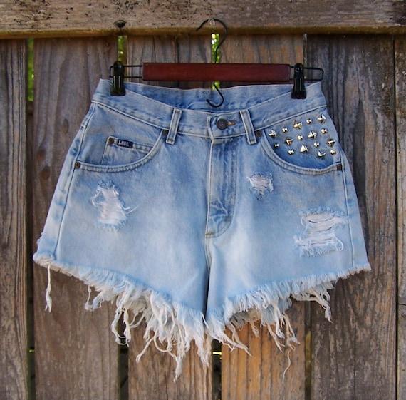 """Studded high waist shorts / Vintage 90s LEE denim cut offs / light blue denim ombre dip dye bleached  29"""" waist"""