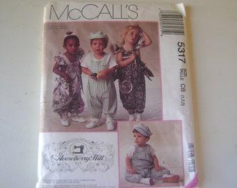 Vintage McCall's Pattern 5317 Child's Romper Jumpsuit & Hat Pattern Size 1-2-3  Original Designs by Gooseberry Hill