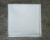 "White Cotton Pocket Square w/ Black Contrast Stitching - ""Pretty Fly"""