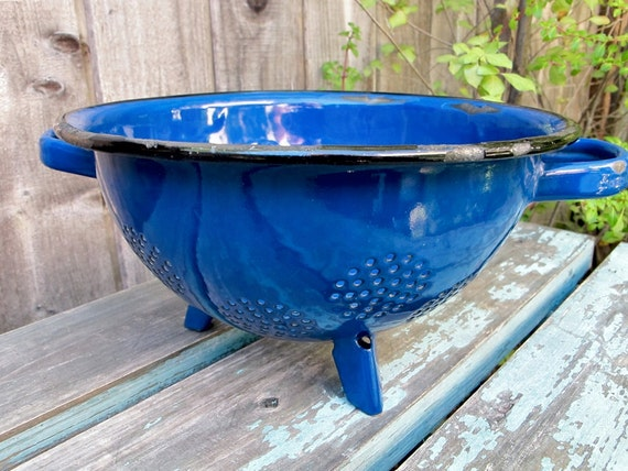 Vintage Blue Enamelware French Blue Colander