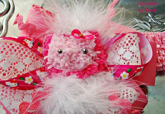 Boutique Headband - Kitty Ribbon Headand - Pink Headband - Marabou Headband