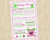 Baby Shower Invitation Monster - Monster Baby Shower Invite Girl Plaid - Baby Shower Monster Plaid - Pink Brown Lime Green Hearts Words Text