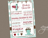 Airplane Baby Shower Invitation Pilot - Airplane Shower Invite Clouds Sky - Blue Brown Red - Girl or Boy - Airplane baby shower invite