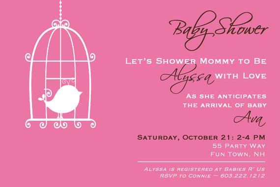 cage baby shower invitations girl bird chevron bird shower invites
