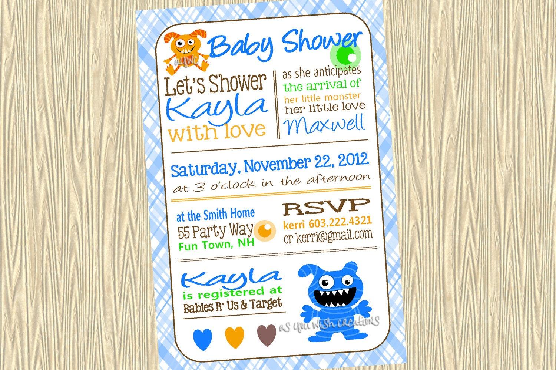 monster baby shower invitation boy by asyouwishcreationsu on etsy, Baby shower invitations