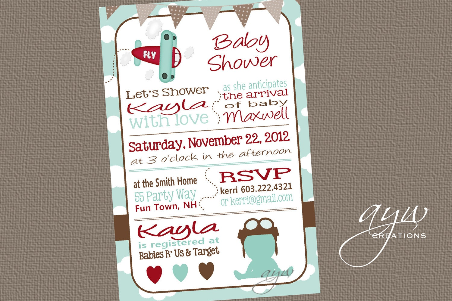 airplane baby shower invitation boy invitation airplane shower