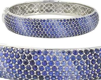 Multicolor Graduating Blue Sapphire Ombre Bracelet 925 Sterling Silver Bangle SKU: 1831-925