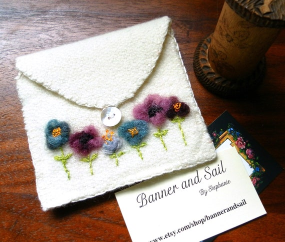 Wool flowers hand made business card holder or sewing pouch