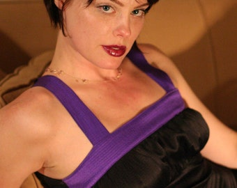 Silk Camisole, Camisole in Black & Purple, Silk Blouse, Silk Top with Empire Waist, Camisole Top with Shirred Bodice, OOAK