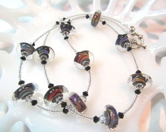 Necklace glasss art lampwork multi colored with crystals, single strand