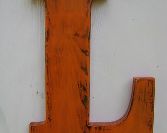 """wooden letter L wall hanging Distressed shabby chic initial painted Orange ,Wooden Alphabet Letters,12"""" tall Wood Name Letters,"""