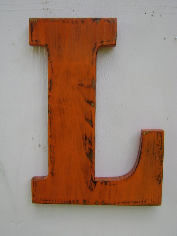 items similar to wooden letter l wall hanging distressed shabby chic initial painted orange. Black Bedroom Furniture Sets. Home Design Ideas