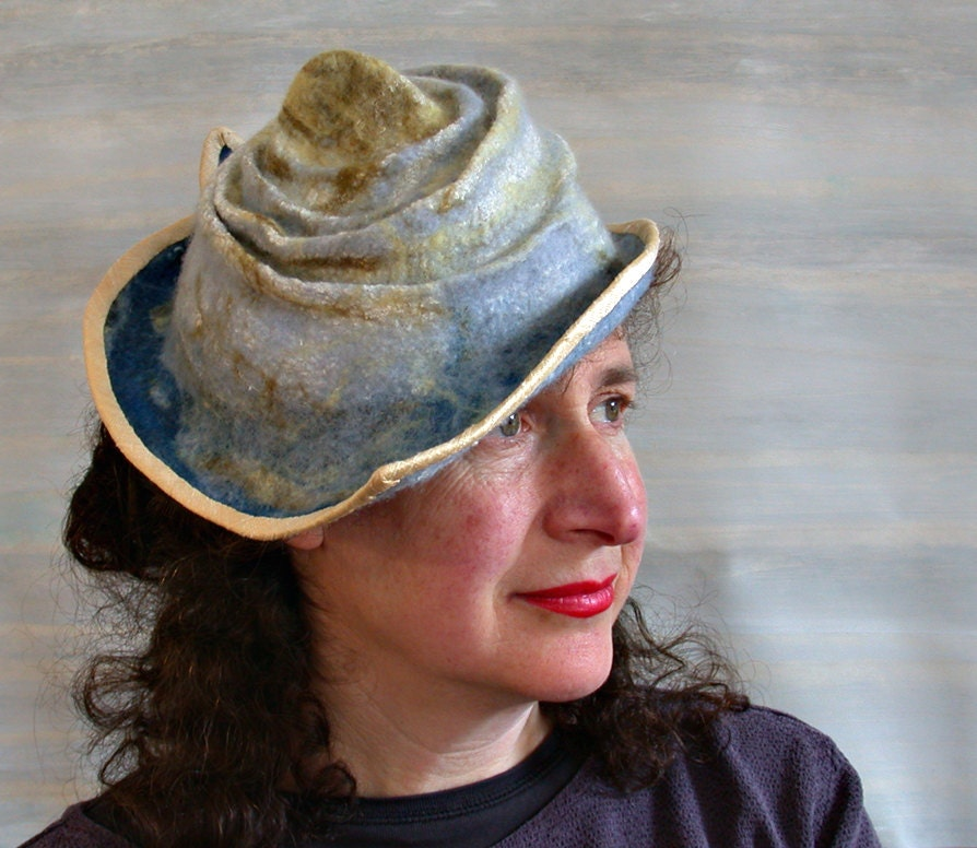 Wearable Art Hats: RESERVED Nuno Felted Hat Sea Inspired Wearable Art