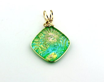 Green, Blue, Pink, and Gold Fused Dichroic Glass Wire Wrapped Pendant with Transparent Green Bottom