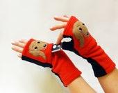 Dachshund DogWalking Gloves. Training Fingerless Gloves w/ Pockets.