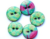 Cool mint and lilac floral pattern wood buttons 1023