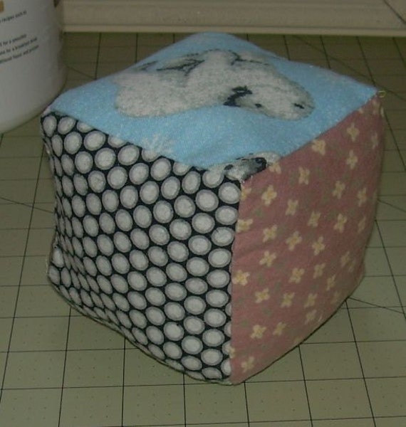 Baby FLANNEL BLOCK with 6 Different Fabrics.  Soft & Squishy 4 inch FREE Shipping