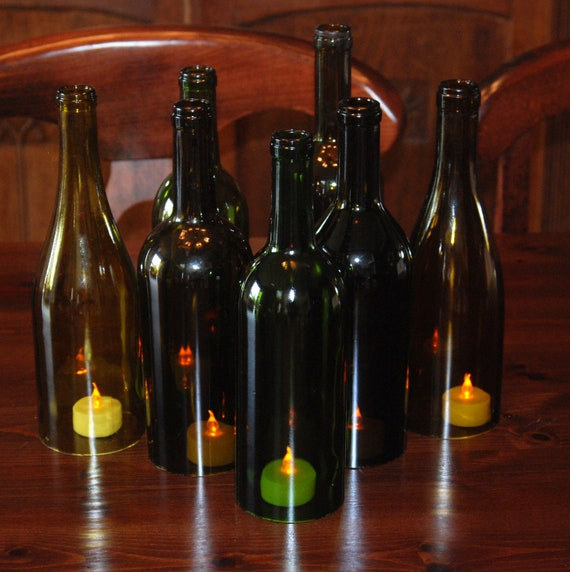 set of 7 hand cut wine bottle hurricane candles perfect
