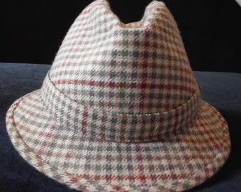 Vintage  50s 60s FEDORA TWEED Wool a Herbert Johnson original