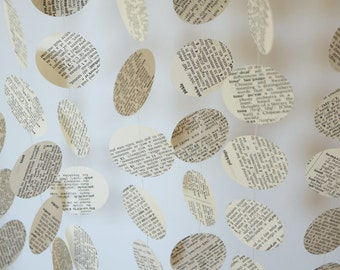 book pages paper garland dictionary or book of virtues birthday decorations anniversary - Book Page Decorations