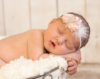 Newborn Perfect Vintage Baby Pink and Off White Headband with Fluffy feathers and crystal detail